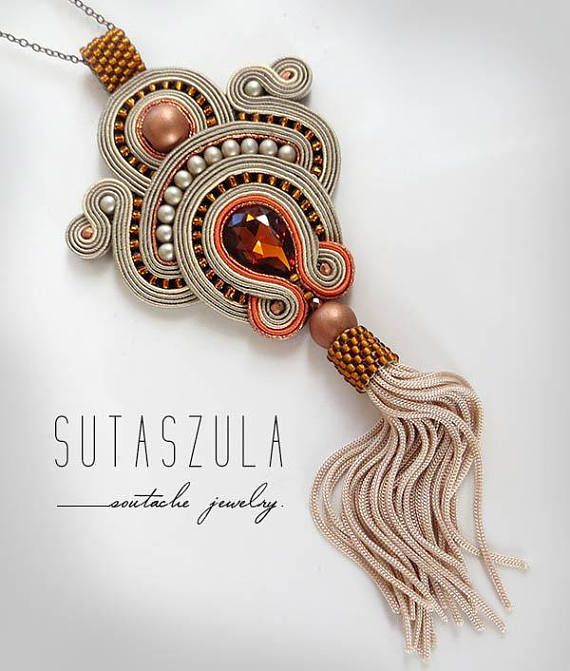 Beige topaz tassel boho necklace soutache OOAK statement necklace Soutache boho stone long pendant christmas gift for wife Necklace made soutache embroidery technique. Made of: Soutache, glass beads, seed beads. Back is made of thin natural leather. Adjustable circuit – about 60 cm (23,62)