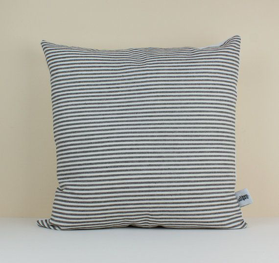 Black and White Stripe Linen Pillow Cover by LinenandStripes