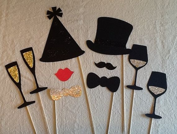 Photo Booth Props 10 pc Party Set New Years Photo by PimpYourParty