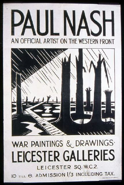 """Poster for Paul Nash's """"War Paintings & Drawings"""" exhibition at the Leicester Galleries"""