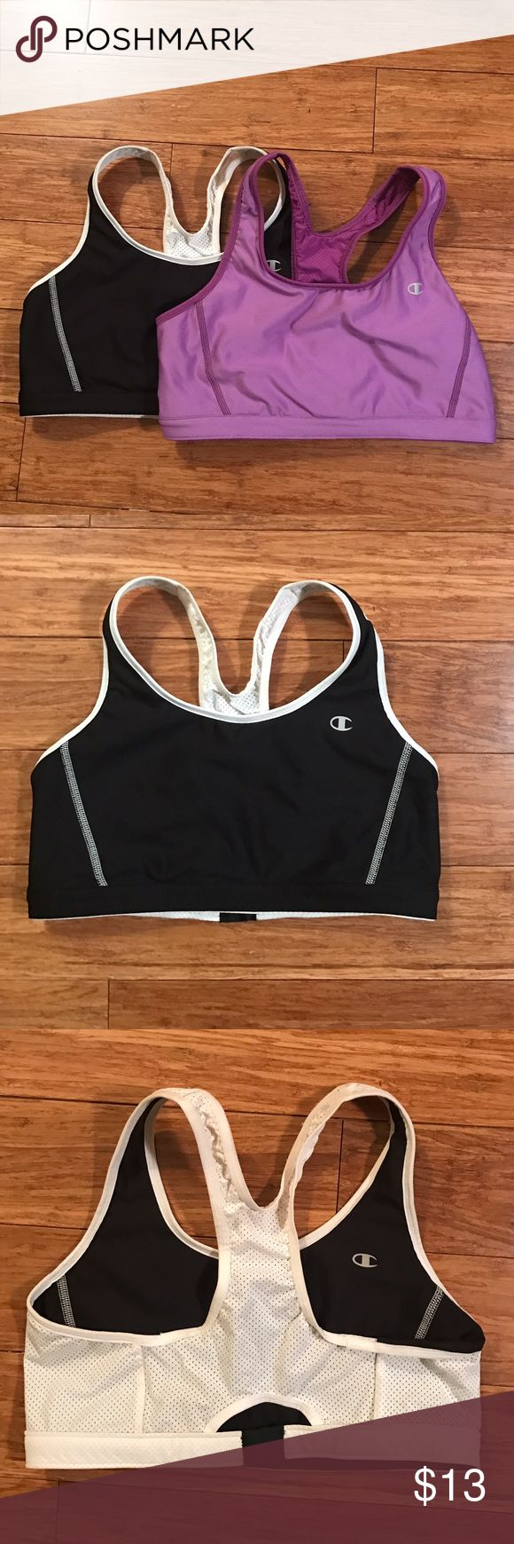 Reversible Champion Sports Bras Get two gorgeous and versatile Sports Bras for the price of one. Both reversible! Mesh detailed to allow for sweat while still providing great support. Black/white and Purple. Champion Intimates & Sleepwear Bras