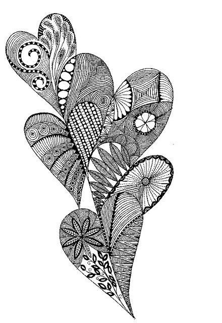 I can imagine these textures in metal clay :-) zentangle of 5 intertwined hearts
