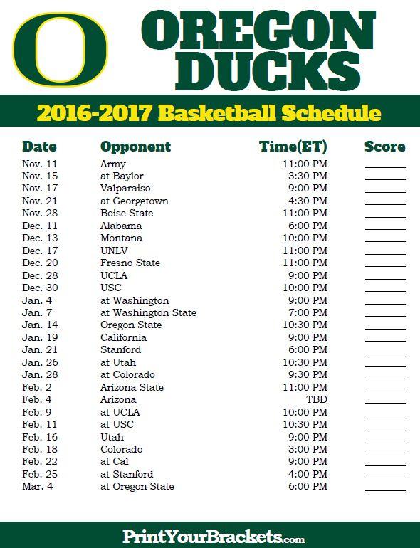 Oregon Ducks 2016-2017 College Basketball Schedule