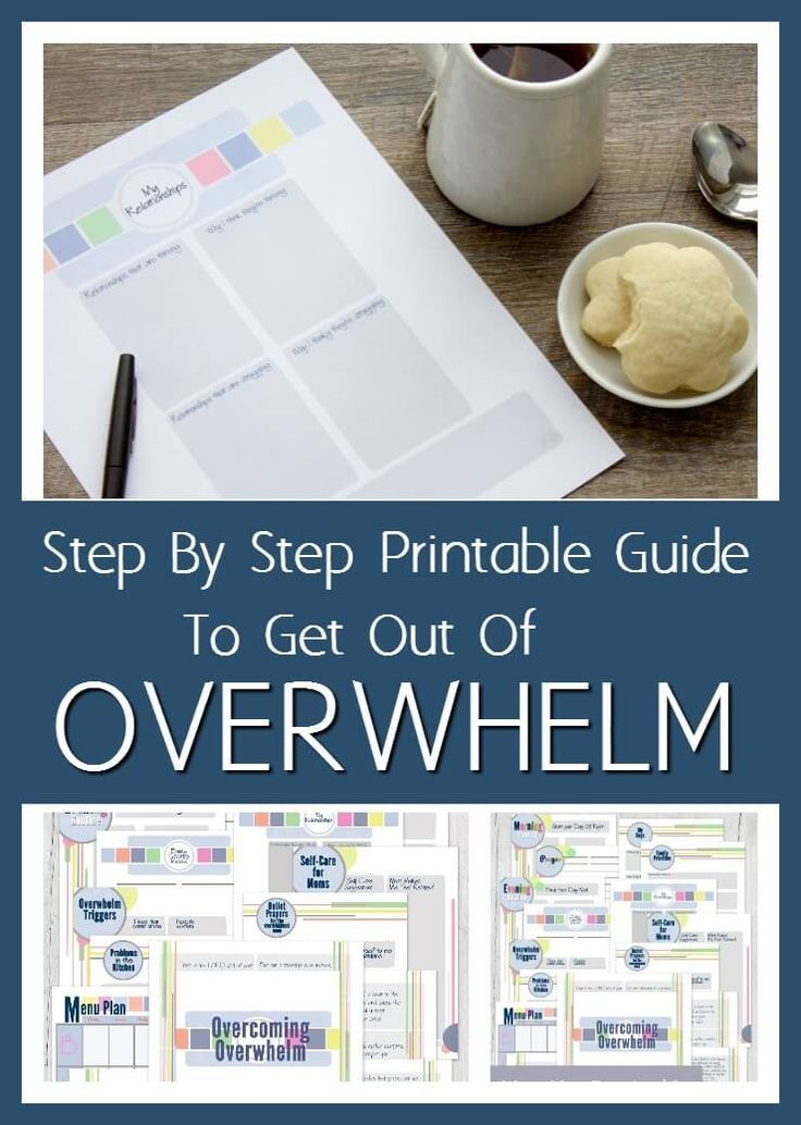 Are you an overwhelmed mom, feeling stressed a lot about all that is on your to do list? Here's a step by step printable guide to get out of overwhelm.