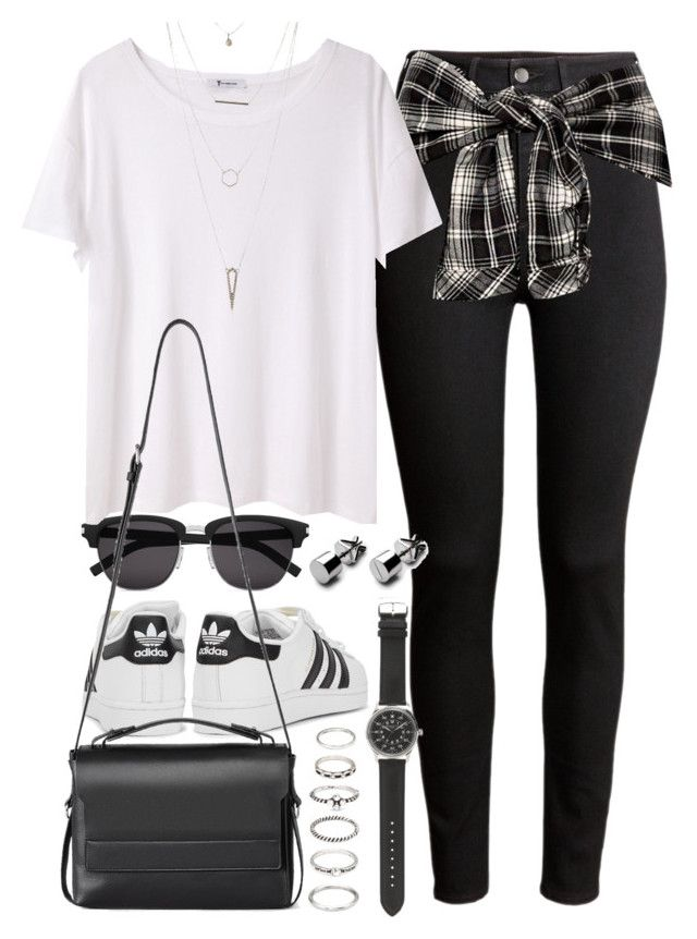 """""""Outfit with high waisted jeans and Adidas sneakers"""" by ferned on Polyvore featuring H&M, Yves Saint Laurent, adidas Originals, T By Alexander Wang, AllSaints, Forever 21, J.Crew and Charlotte Russe"""