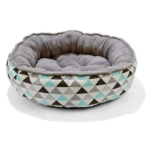Plush Pet Bed - Geometric Print, Medium