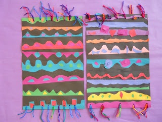 Dhurrie rug collage yarn color pattern art lesson project multi-cultural