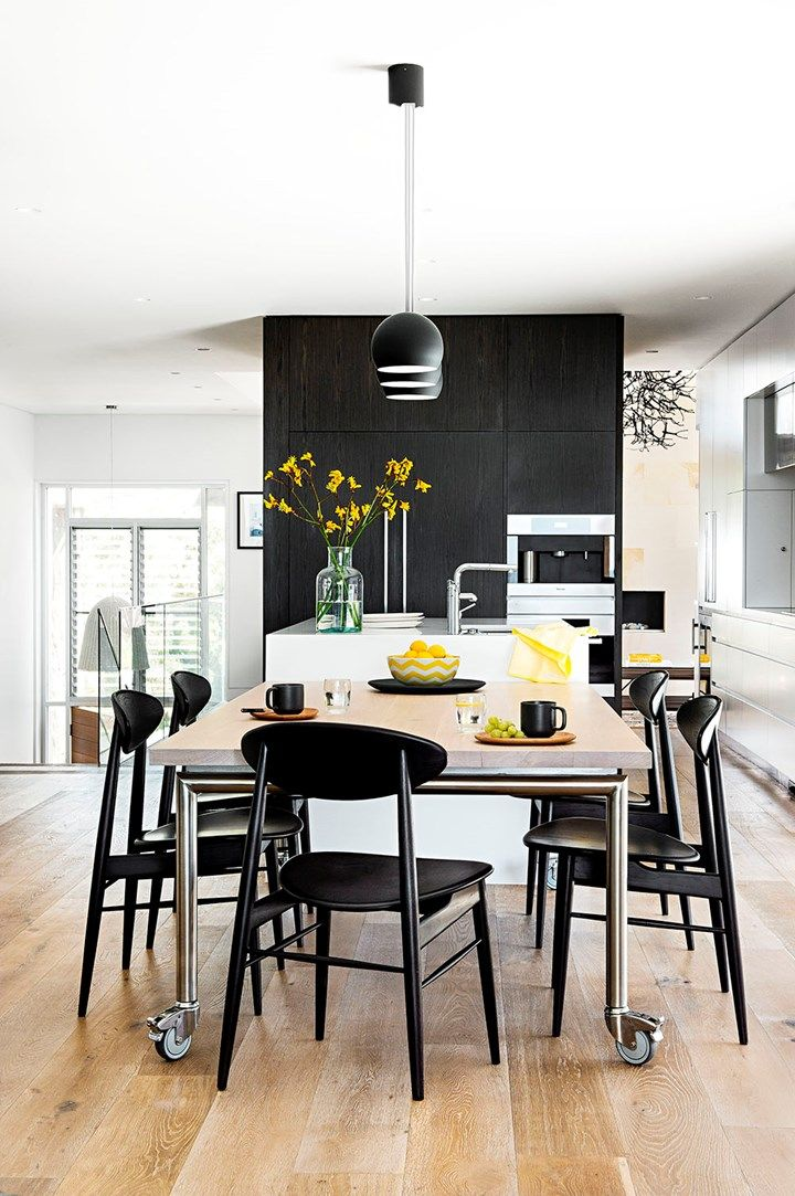 Modern monochrome kitchen  A slick space that is as happy catering for two as it is for ten | Home Beautiful Magazine Australia
