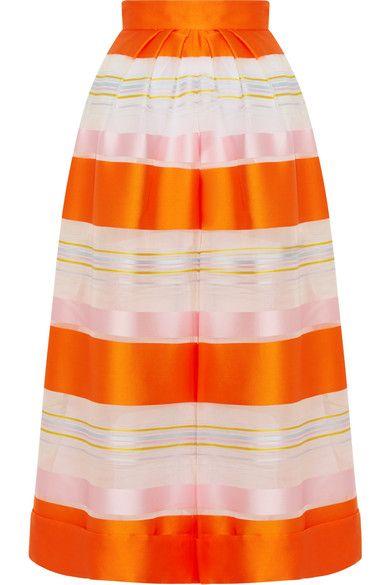 DELPOZO - Cropped Striped Organza Wide-leg Pants - Orange - FR36