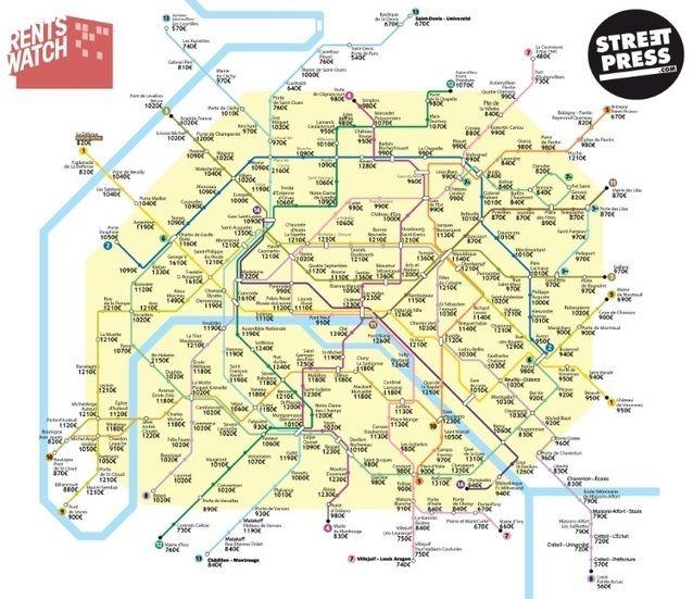 """#Datajournalisme: """"La carte des loyers par station de métro"""" en datavisualisation"""