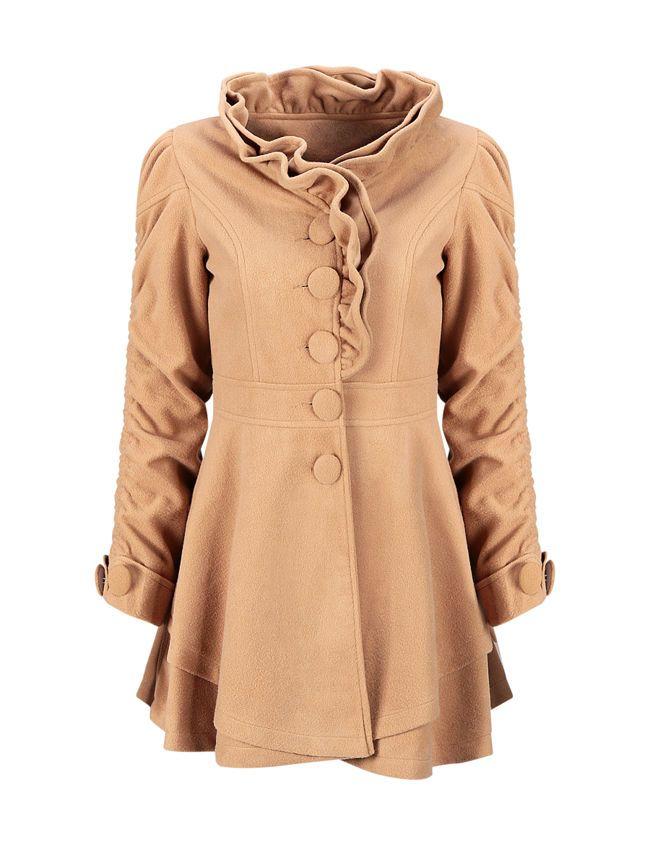 Band Collar Ruffle Trim Single Breasted Plain Woolen Coat