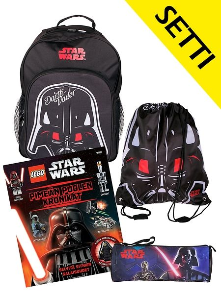 Star Wars -setti koululaisen iloksi! Setti sisältää tyylikkään mustan Star Wars Darth Vader -repun, penaalin ja jumppapussin sekä kirjan Pimeän puolen kronikat, joka sisältää myös Lego-hahmon. Tällä voimallisella paketilla on hyvä aloittaa syksyn koulu! Myynnissä rajoitetun ajan.