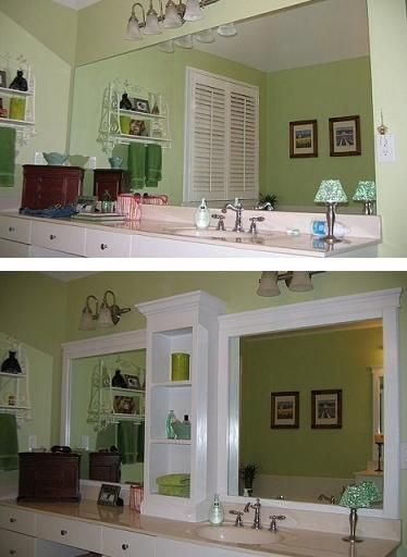 revamp that large bathroom mirror; separate it with shelves and border with trim -- all without removing the original mirror. Love this! #diy, #handmade, #homemade