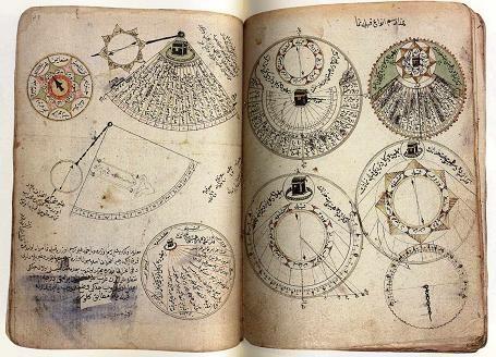 Majmua-i Hay'a, unknown author. The Kibla-nûma figures show how to find the direction of the holy Ka'ba (Kandilli Library, MS 198/1, fol. 35b-36a).