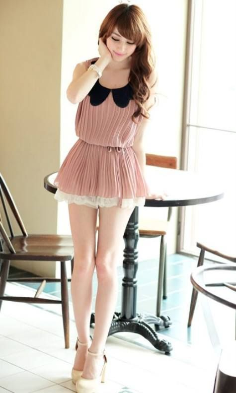 GQ 3172 Collar Blouse (PINK). Fabric: chiffon (not elastic). Bust 92 Shoulder 38 Length 70.