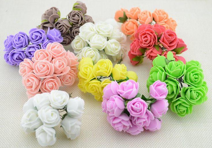 12 stks/partij 2.5 cm Hoofd Multicolor PE Foam Mini Bloem Kunstmatige Rose Bloemen Boeket bruiloft decoratieve bloemen kransen