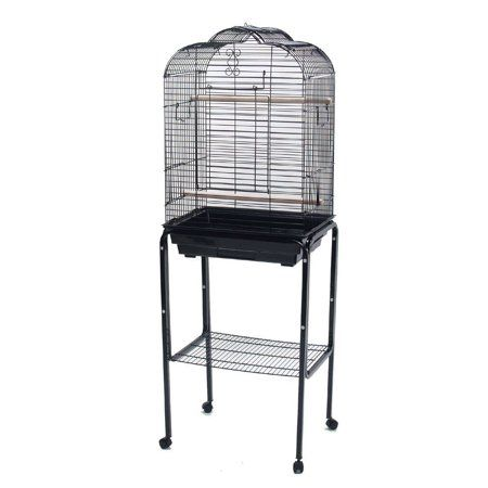 Yml 1904blk 4924blk 3 4 Inch Bar Spacing Open Dome Top Bird Cage With Stand Black Size 4 Inch Bird Cage Stand Bird Cage Cage