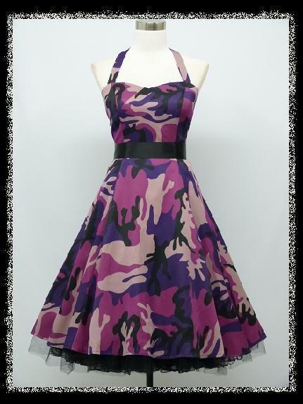 dress190 Camouflage HALTERNECK 50s ROCKABILLY SWING VINTAGE PROM DRESS 20-22