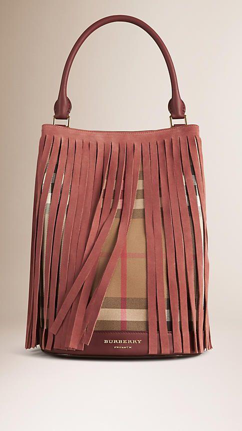 Rosso bruno Borsa Burberry Bucket con motivo House check e frange - Immagine 1