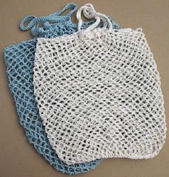 Free  (No Membership) Crocheted Yarn Bag.  Paper or plastic?  The old fashioned crocheted string bag is back in style.  It folds up small to put in your pocket and stretches out big at the store.  The string bag is washable and re-useable.  Only plastic is lighter and folds up smaller, but it often doesn't make it even one trip home from the store; and it ends up in the environment as toxic.  This 2.0 oz. bag can be crocheted using leftover string,
