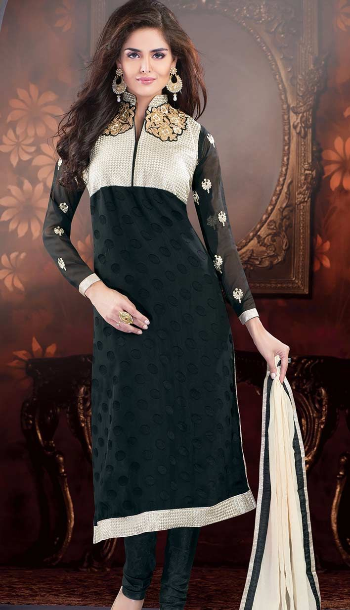 Get Fashionable Indian Black Georgette Brasso #ChuridarKameez #PartyWearDresses Product code: KPW-36200 Price: INR3307 (Unstitch Suit), Color: Black Shop Online now: http://www.efello.co/Salwar-Kameez_Fashionable-Indian-Black-Georgette-Brasso-Churidar-Kameez-Party-Wear-Dresses,-Dress_13961