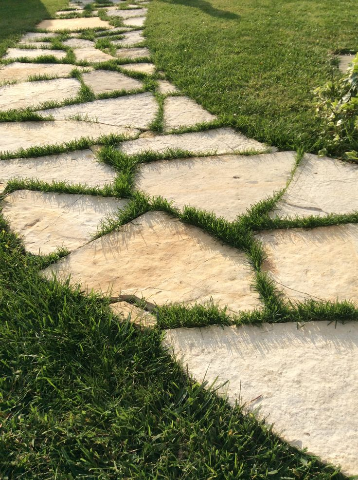 Stone walkway and fine green grass, DONE!