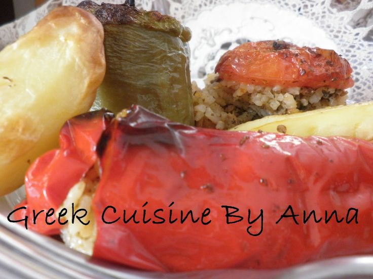 Greek Cuisine By Anna:Bell Peppers Stuffed with Meat and Rice
