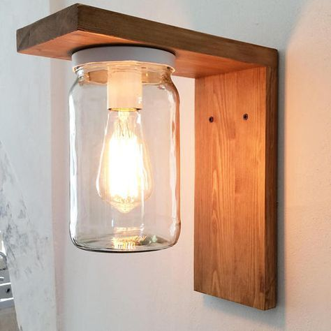 Lantern Wood Lamp for garden with jar lampshade. Wall sconce outdoor lighting