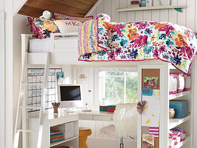 I love the PBteen Sleep + Study Tropical Bedroom on pbteen.com. This would be an amazing dorm room