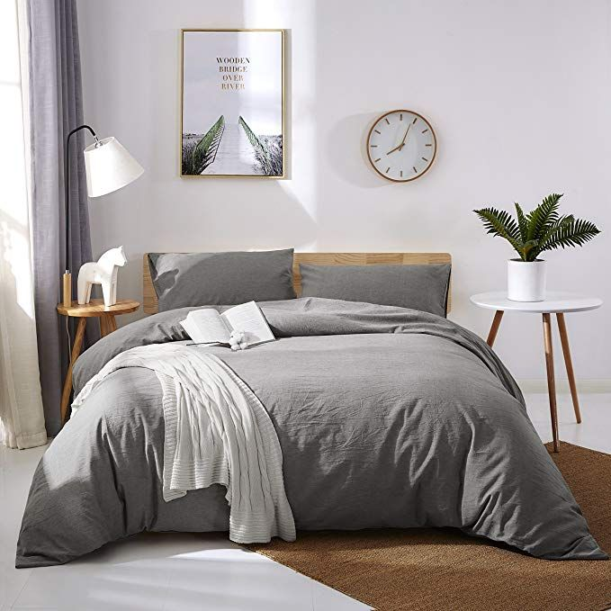 Oaite Duvet Cover Set 100 Washed Cotton Duvet Cover Ultra Soft And Easy Care Comfortable Bedroom Decor Comforter Master Bedroom Duvet Cover Master Bedroom