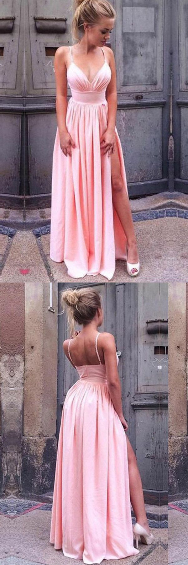 A-Line Spaghetti Straps Pink Pleated Prom Dress with High Split PG461 #promdress #eveningdress #partydress
