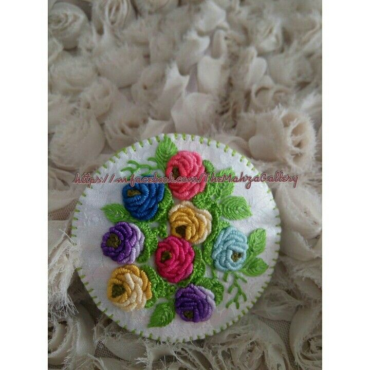 Hand embroidery brooch