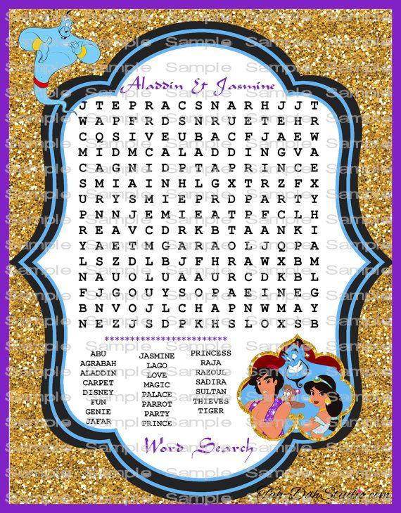 Disney Aladdin Jasmine Word Search Game Birthday by TahDahStudio 300 Disney Pinterest