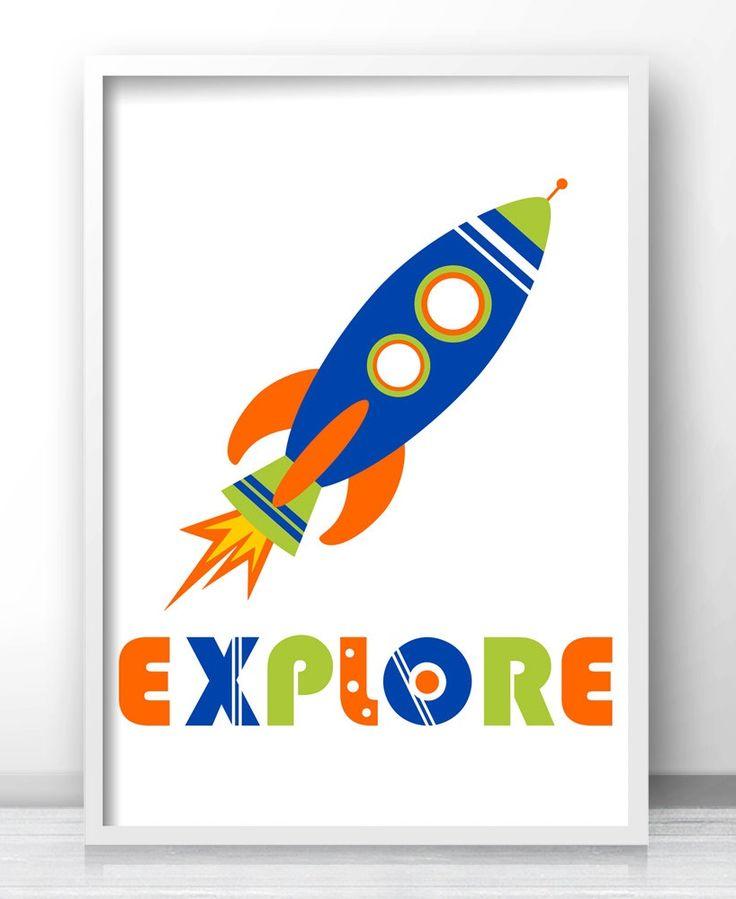 Outer Space Kids Room Decor, Rocket Ship Boys Room Wall Art, Explore Print Part 63