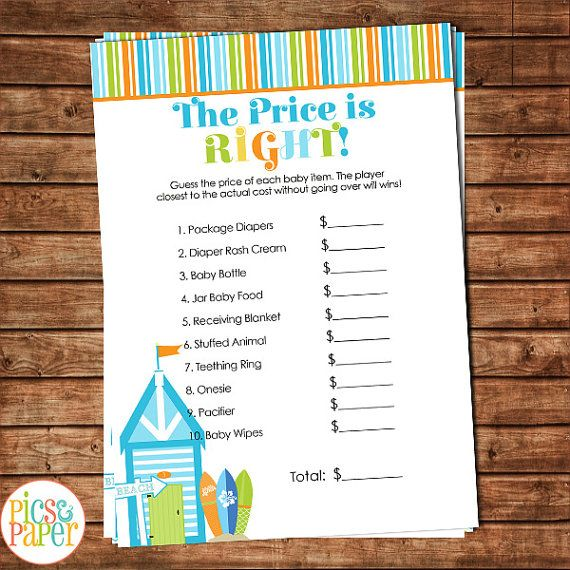 The Price is Right Surf Theme Beach Theme Baby by PicsandPaper