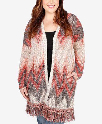Lucky Brand Trendy Plus Size Chevron Intarsia Fringe Cardigan - Sweaters - Plus Sizes - Macy's
