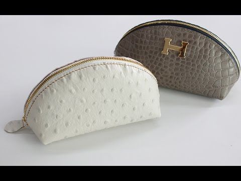 Leather D.I.Y cosmetic zipper pouch