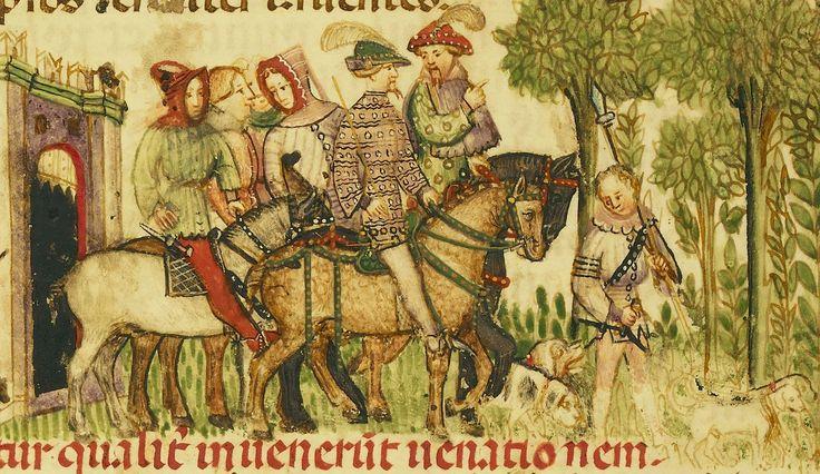 """Attributed to Anovelo da Imbonate, illuminator, around 1400. """"Aimo and Vermondo go hunting""""."""
