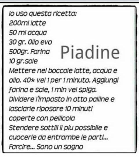 Piadine bimby