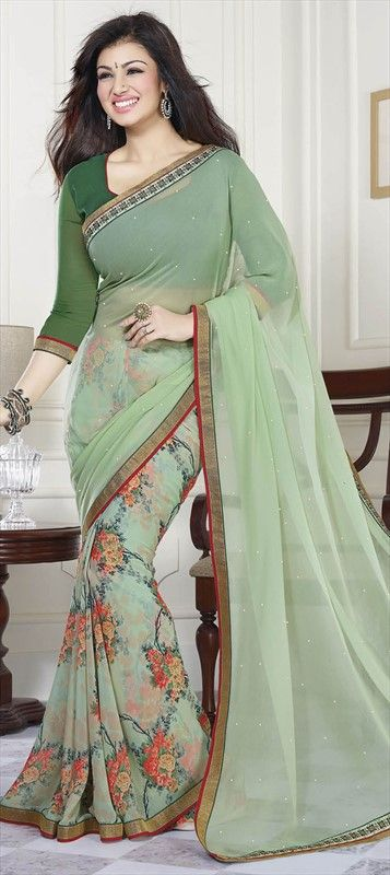 183515 Green  color family Bollywood sarees in Faux Georgette fabric with Floral, Lace, Printed, Stone work .us38