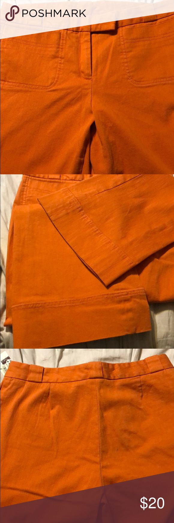 Anne Klein Clementine Sutton Place Pants Anne Klein size 6 Clementine orange Sutton Place 99% cotton 1% spandex 2 Pocket Pants NWT Anne Klein Pants Trousers