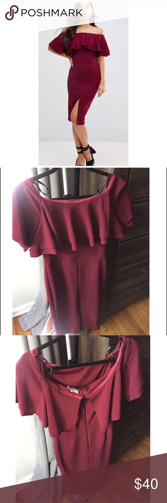 ASOS Double Ruffle Bardot Midi Dress UK 10/US 6 Gorgeous Burgundy dress, WORN ONCE, Excellent Condition!!! No stains, wrinkles, or marks. Very flattering and figure friendly! Stretchy, quality material. Asos Dresses Midi