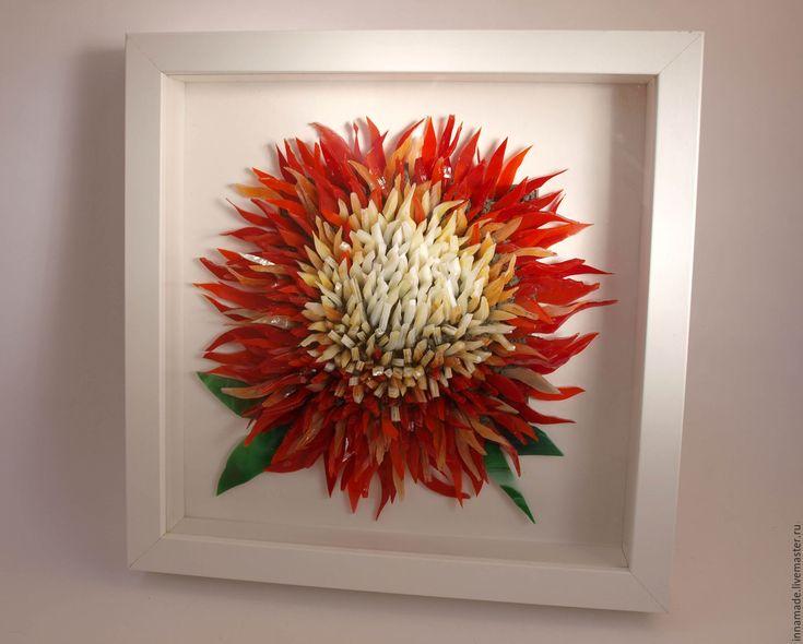Купить Хрустальный цветок. 3D Хризантема. Витражное стекло - ярко-красный, алый, огненный, стеклянный