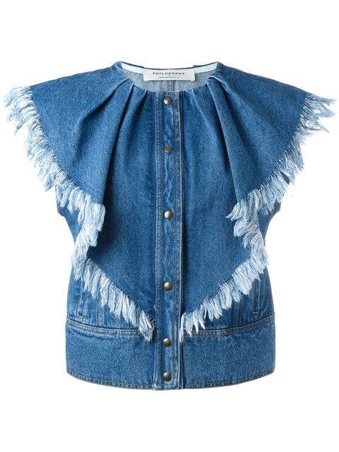 Shop Philosophy Di Lorenzo Serafini press buttons denim waistcoat.
