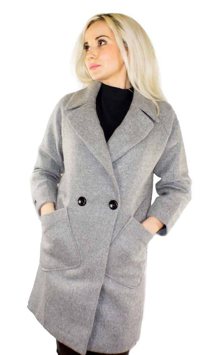 Trendiger Damen Herbstmantel Farbe: Grau Außenmaterial: 80% Polyamid 20% Wolle