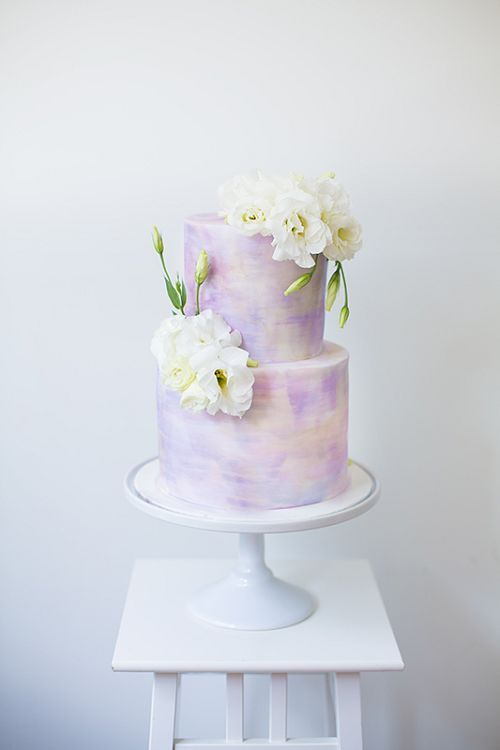 purple watercolor wedding cake with white flowers / http://www.deerpearlflowers.com/23-unique-wedding-cakes-made-with-love/