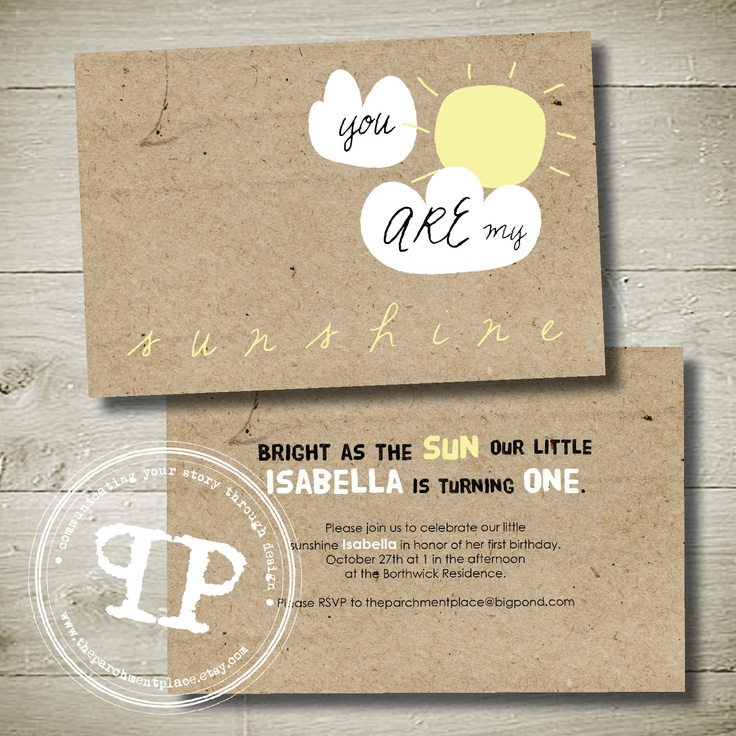YOU are MY SUNSHINE - personalised invitation printable party package. $23.00, via Etsy.