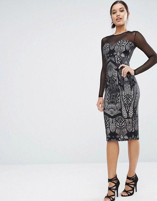 ASOS | ASOS Sweetheart Mesh Ergonomic Lace Pencil Dress