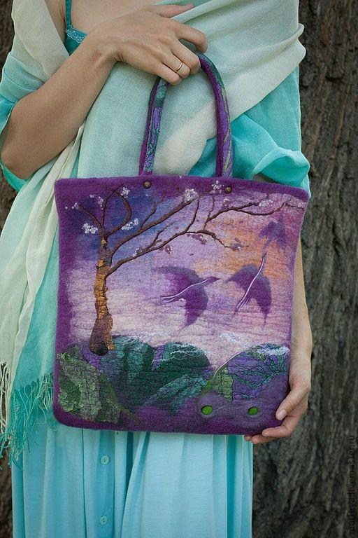 Felted Bag Handbag Purse Felt Nunofelt Nuno felt Silk Eco handmadered bag Fiber Art boho lilac bag a gift for woman Birds lilac sky