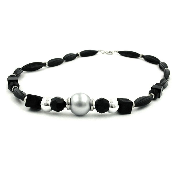 Necklace Black Olive Chromed Bead